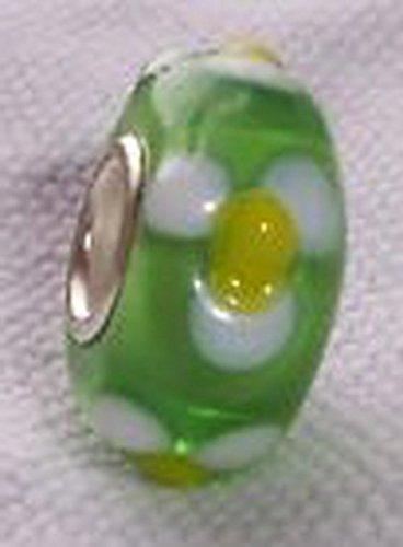 Glamorise Beads #14268 Green White Flowers Daisy Single Core Glass Bead for European Charm Bracelets