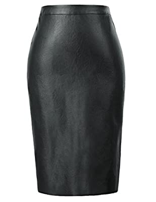 Kate Kasin Women's Faux Leather Pencil Skirt Hip Wrapped Back Split KK601