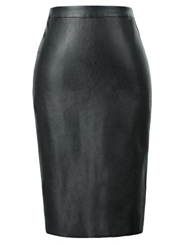 Kate Black Leather (Women's Faux Leather Pencil Skirt Stretchy Business Pencil Skirt X-Large KK601-1)