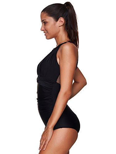 bb784c9d70 Zando Womens Plus Size Bathing Suits Retro Tummy Control Swimwear High Neck  Mesh Ruched One Piece