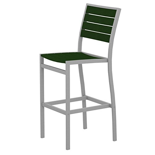 POLYWOOD A102FASGR Euro Bar Side Chair, Textured Silver/Green Review