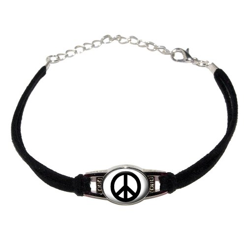 Graphics and More Peace Sign - Novelty Suede Leather Metal Bracelet - Black (Peace Sign Bracelet Suede)