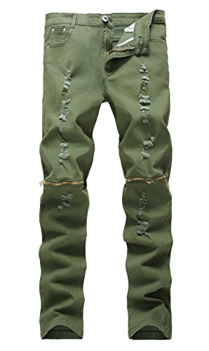 Men's Army Green Zipper Ripped Distressed Destroyed Skinny Fit Jeans with Holes