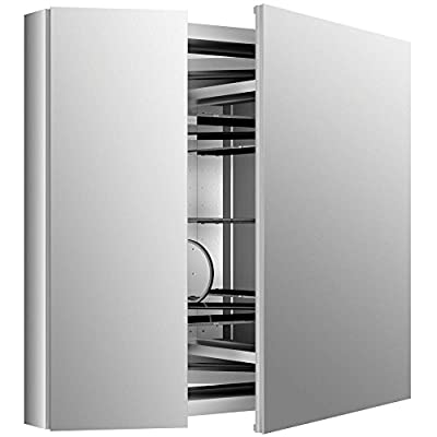 KOHLER K-99009-NA Verdera 34-Inch By 30-Inch Slow-Close Medicine Cabinet With Magnifying Mirror - Rust-free aluminum construction with full-overlay mirrored door.  Slow close hinge prevents door from slamming Vertically adjustable 3x magnifying mirror on inside of door.  Mirrors on back of door and interior back of cabinet Three adjustable tempered-glass shelves. - shelves-cabinets, bathroom-fixtures-hardware, bathroom - 41mPjkqiEEL. SS400  -