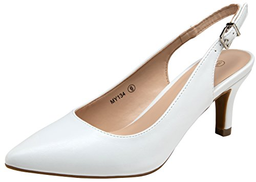 VOSTEY Women Low Heel Shoes Slingback Pumps (8,White Pu) by VOSTEY