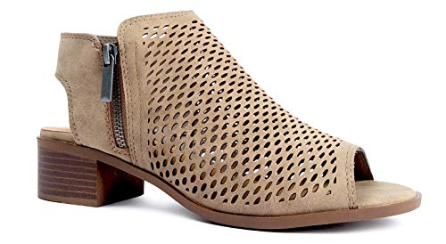 J. Adams Tracy Perforated Flat Bootie - Casual Open Toe Low Heel - Cut Out Shoe, Light Taupe, 7.5