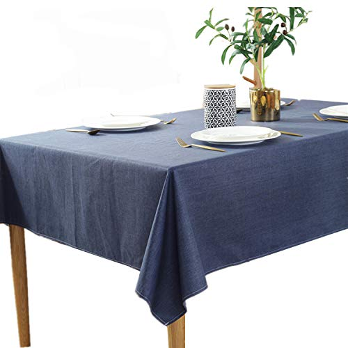 - Heavy Weight Cotton Linen Tablecloth Brief Style Rectangular Table Cloth for Dining Kitchen Home Tabletop Decoration, 48 x 63 inches, Navy Blue