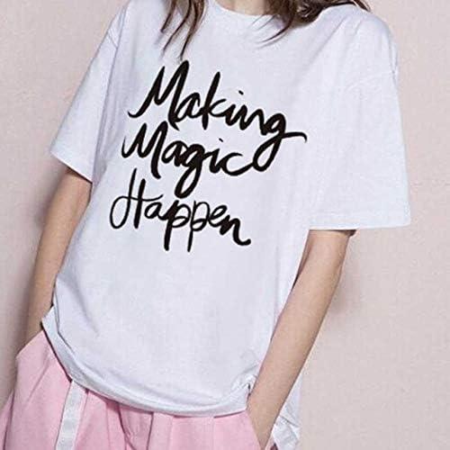 ADSIKOOJF Nueva Camiseta de Verano 2020 para Mujer Impreso Letras mágicas Moda O-Cuello de Manga Corta Camiseta Suelta Negro Blanco Gris Camiseta XL C: Amazon.es: Hogar