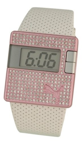Puma Sirius Unisex White Leather Strap With Pink Dial And Crystals Watch