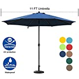 Sundale Outdoor 11 ft Aluminum Patio Umbrella Table Market Umbrella with Crank and Push Button Tilt for Graden, Deck, Backyard, Pool, 8 Steel Ribs, Polyester Canopy (Navy Blue)