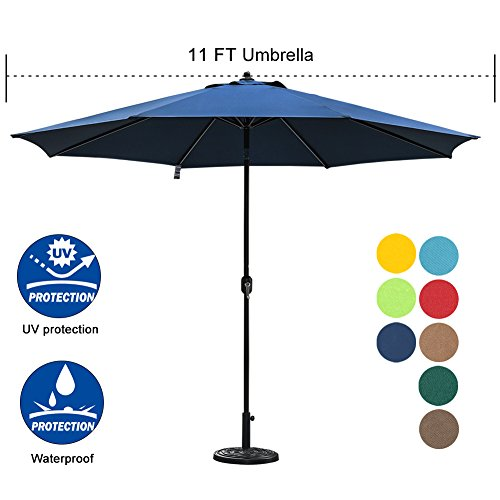 Sundale Outdoor 11 ft Aluminum Patio Umbrella Table Market Umbrella with Crank and Push Button Tilt for Graden, Deck, Backyard, Pool, 8 Steel Ribs, Polyester Canopy (Navy Blue) by Sundale Outdoor