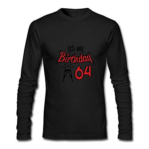 Moshiwenq Birthday 64 Custom Men's Blank Long Sleeve T-Shirt Size L Color - Christi Warehouse Men's Texas Corpus