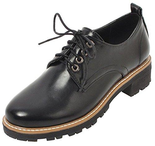 Oxfords Shoes Mofri Women's Heels Casual Low up Block Low Lace Round Top Black Toe PpHRWqZpB