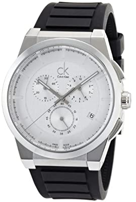 Calvin Klein Men's 'Dart' Swiss Quartz Stainless Steel and Rubber Automatic Watch, Color:Black (Model: K2S371D6)