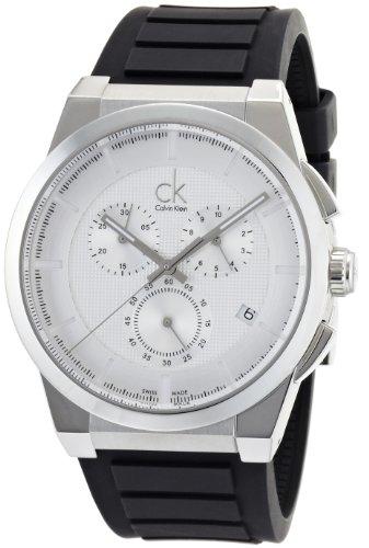 Calvin Klein Men's Dart Stainless Steel Swiss-Quartz Watch with Rubber Strap, Black, 26 (Model: K2S371D6)