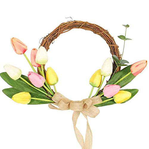 Mikilon Artificial Tulip Flower Wreath, 19.6 Inch Colorful Silk Tulips Front Door Wreath with Green Leaves and Ribbon Decor for Home Wall Wedding (Colorful)