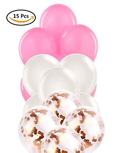 - 12'' Rose Gold Metallic Pre-Filled Confetti, Pearl White, and Pink Latex Balloons 15 Pack, Set of 5 Each, Great for Decorations, Parties, and Fun Events