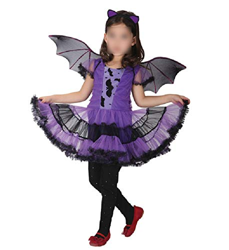 Party Bat CDress Witch Clothing Halloween Costumes with Wings Headband Dresses,Batgirl,S,Bat ()