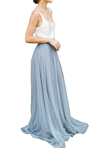 Omelas Womens Long Floor Length Tulle Skirt High Waisted Maxi Tutu Party Dress (Dusty Blue, S) (Blue Tulle Dress Womens)