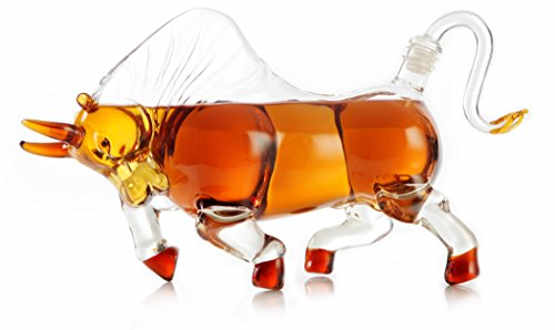 - Bull Decanter- 1000ml Scotch Whiskey Decanter - Stock Market Investor Gifts, Bull Decor, Gifts for Boss, Day Trading Bull Market Gifts - Graduation Gift Charging Wall Street Bull (Prestige Decanters)