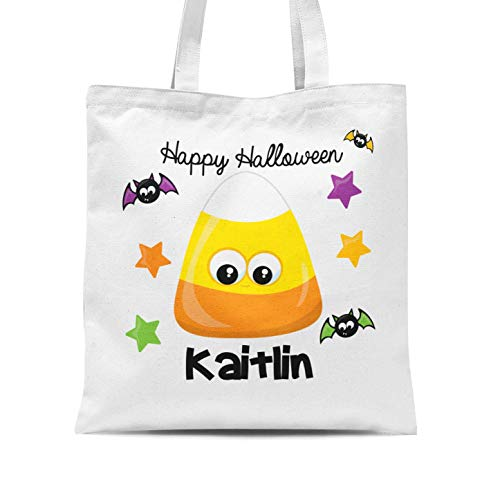 Halloween Tote Bag - Candy Corn Personalized Name Trick or Treat Tote Bag -