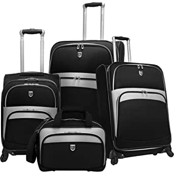 Travelers Choice Luggage Beverly Hills Country Club 4-Piece Expandable Spinner Luggage Set, Black, Large