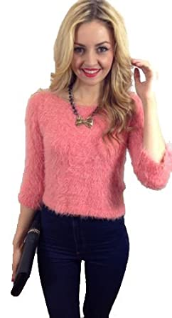 9e7ce9f678d131 Cecees Boutique Salmon Pink Fluffy Cropped Jumper Salmon Pink One Size -  Other Colours Available: Amazon.co.uk: Clothing