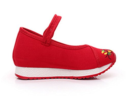 Soojun Girls Unique Embroidery Mary Jane Canvas Sneaker, 2 Little Kid, Red by Soojun (Image #2)