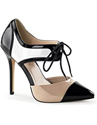 Summitfashions Womens Black Tan and White DOrsay Pumps with Lace Up Closure and 5 Inch Heels