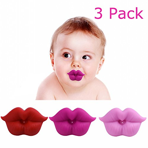 3Pcs Funny Baby Mustache Pacifiers, Cute Novelty Kissable Lip Pacifiers for Newborn Infant Toddlers, BPA Latex Free Made with Soft Silicone - Great Baby Shower Gift! (Lips Pacifier)
