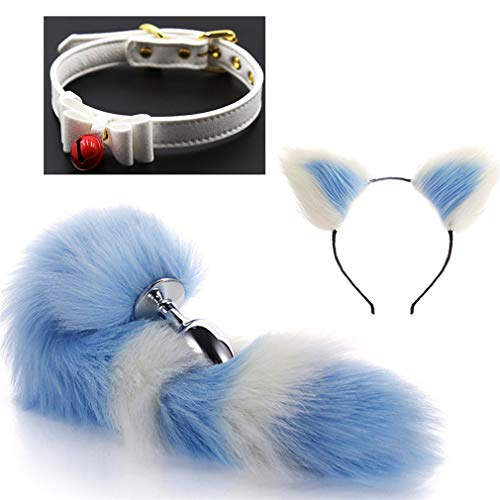 (Make life wonderful Collar, Cat Ears Headband & Blue-White Three Sizes Fluffy Faux Fox Tail Charms Role Play Costume Party Cosplay Prop (Style 5, S))