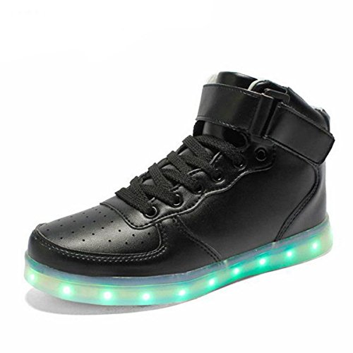 Pinuo 2016 Groot Formaat 35-46 Usb Led-licht Schoenen Mannen Vrouwen 7 Kleuren Gloeiende Mode Led Schoenen Zwart