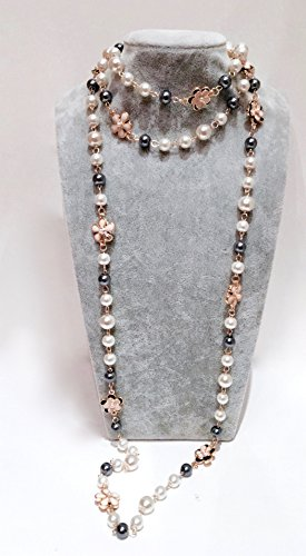 Fashion Jewelry Bridal Look Classic Imitation Faux Pearl Long Necklace - Chanel Gold