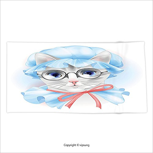 Vipsung Microfiber Ultra Soft Hand Towel Cat Lover Decor Collection Granny Grandma Old Kitty With Her Old Fashioned Pyjamas And Reading Glasses Artsy Blue Pink Grey For Hotel Spa Beach Pool Bath