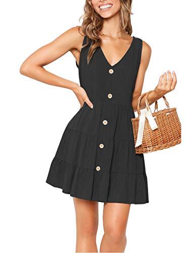 (YIBOCK Women's Summer Sleeveless V Neck Button Pleated Swing Mini Sundress Tank Dress Black )
