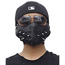 Metal Studded Steampunk Biker Men Half Face Mask Masquerade Leather Black