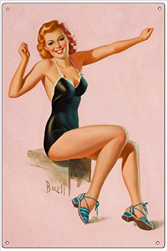 Vintage Pin-Up Metal Plaque Seated Redhead In Swimsuit - By Al Buell, 6X9 Wall Decor