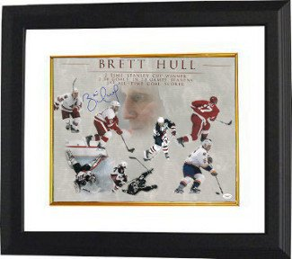 Brett Hull Signed Autograph Career Collage 16x20 Framed Photo - Authentic Autograph