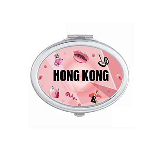 Hong Kong China City Mirror Oval Portable Hand Pocket Makeup
