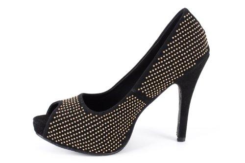 Damen Machado Gold Pumps w Schwarz 35 Black Andres Größe q6dBA5w5
