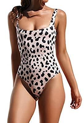 Ulily Women's Bikini High Cut Leopard Print Low Back One Piece Monokini Swimsuits Bathing Suits