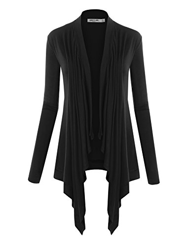 LL WSK849 Womens Off-Duty Open Front Cardigan L BLACK