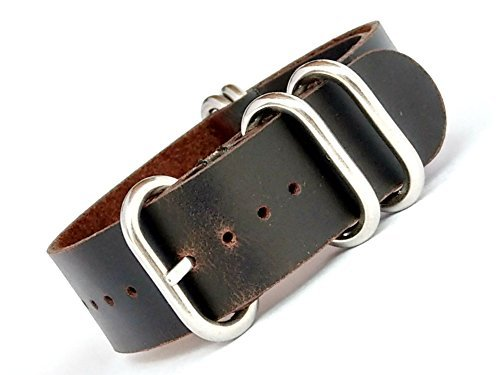 time+ 22mm 5-Ring NATO Zulu Oil Leather Military Watch Strap Black Brown