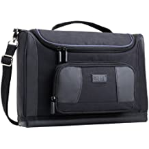 USA GEAR Compact Tablet Messenger Bag Compatible with Galaxy Tab S4 10.5, Galaxy Book 10.6, Galaxy Tab A 10.1 with Durable Exterior, Shoulder Strap, Padded Adjustable Interior Dividers (Black)