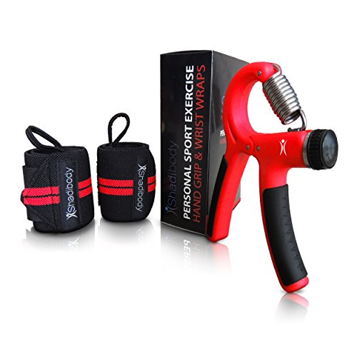 Hand Grip Strengthener Strength Trainer With Wrist Wraps 2 Pack - Finger, Forearm Exerciser Adjustable Hand Gripper Resistance Range 22-88 Lbs Non-Slip - 1 Year Warranty