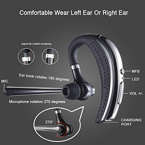 Bluetooth Headset, Wireless Earpiece Hands Free Stereo Business Earphones in-Ear Earbuds with Noise Canceling Mic for Business/Office/Driving, Bluetooth Earpiece Work for iOS/Android Cell Phones by fibevon (Image #1)