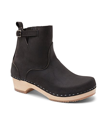 Sandgrens Swedish Low Heel Wooden Clog Boots for Women | New York Black