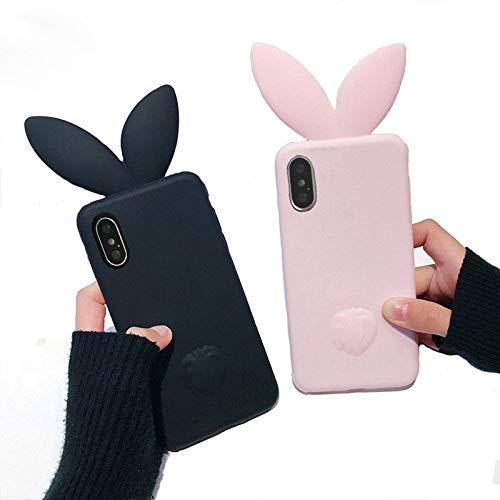 VERYLULU Case for Apple iPhone X and XS Couple Lover Set of 2PCS Black and Pink 3D Cute Cartoon Bunny Rabbit Ears Tail Back Girls Soft Silicone Phone Protective Coque Cover Case