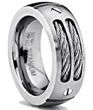 8MM Men's Titanium Ring Wedding Band with Stainless Steel Cables and Screw Design Picture