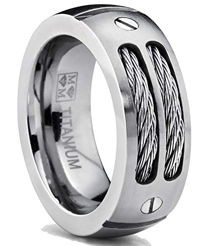 Metal Masters Co. 8MM Men's Titanium Ring Wedding Band with Stainless Steel Cables and Screw Design Size 10